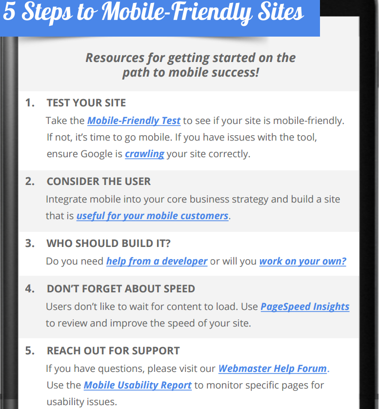 5 steps to mobile friendly sites