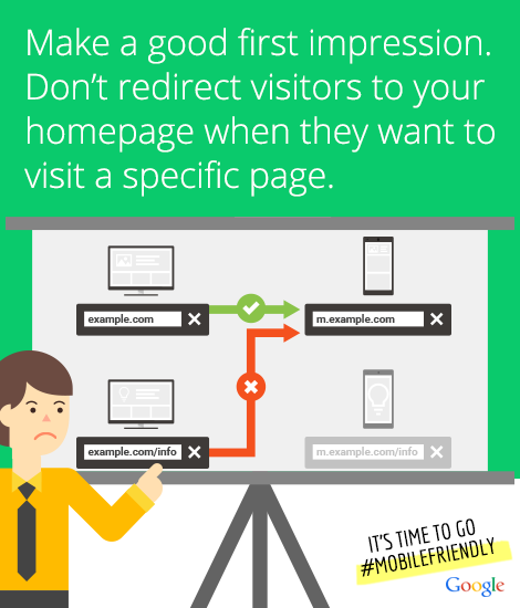 Make a good impression. Don't redirect visitors to your home page when they want a specific page.