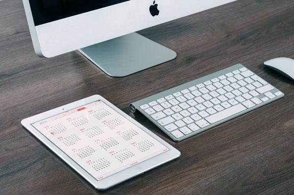 computer and calendar