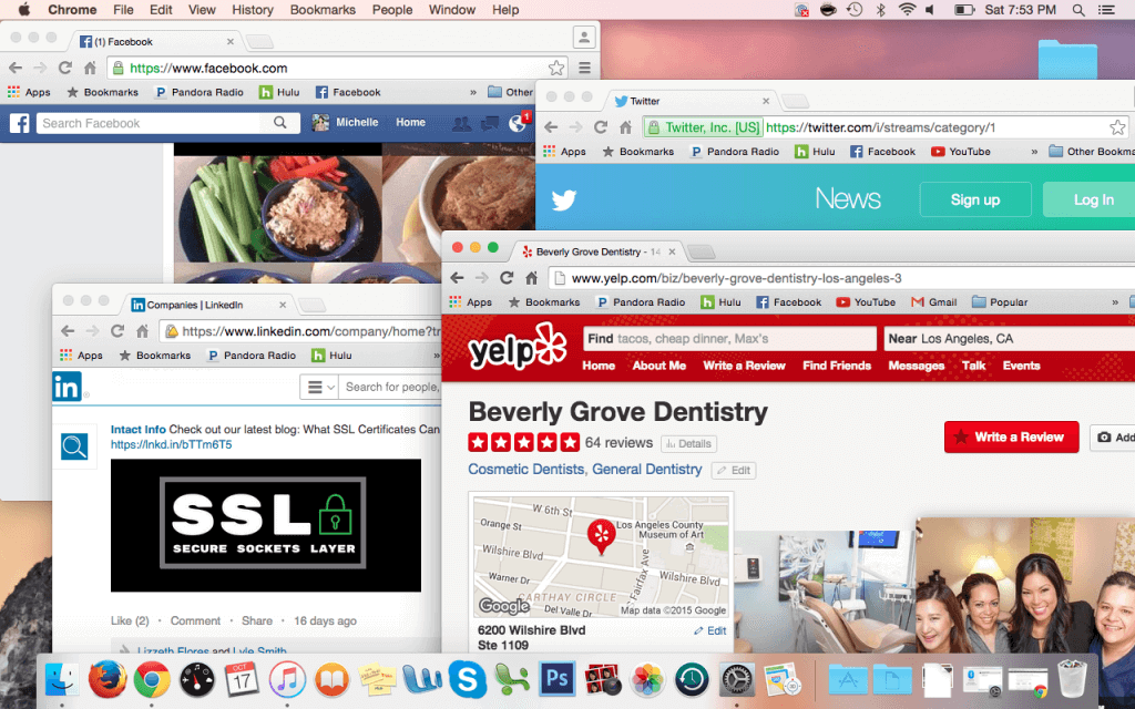 screenshot of social platforms