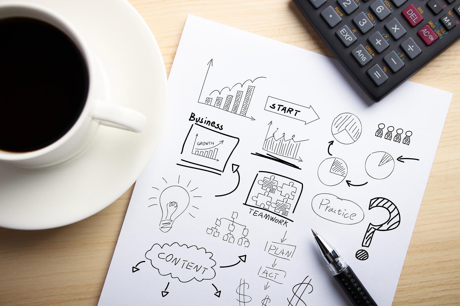 business concept, coffee, pen