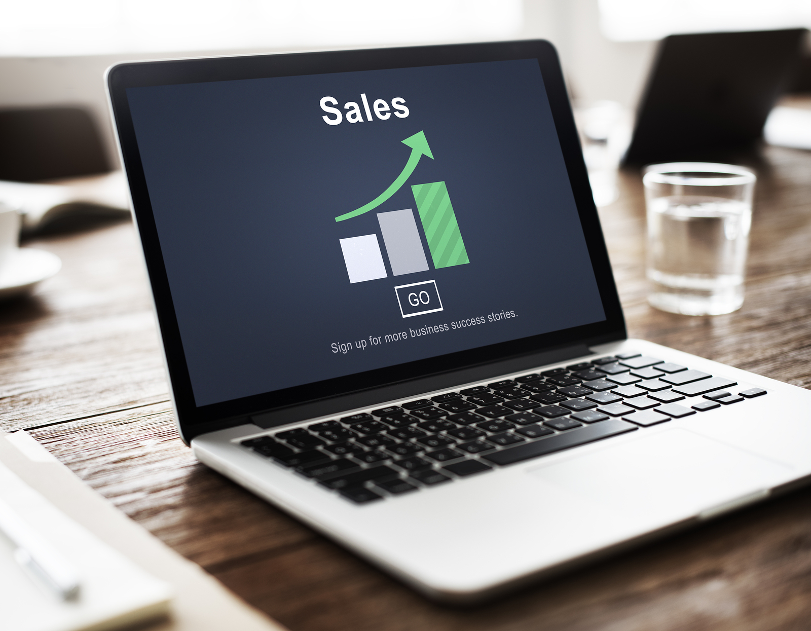 Sales Selling Commerce mockup on a laptop