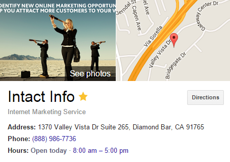 location on search results